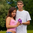 Young Man Giving Present To Girlfriend — Stock Photo #6270779