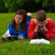 Stock Photo: Two teenagers studying outdoors on grass