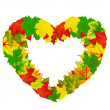 Heart Shape Made By Maple Autumn Leaves — Stock Photo #6307578