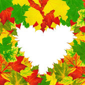 Heart shape autumn leaves frame — Stock Photo