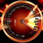 Acceleration speed motion on speedometer — Stock Photo