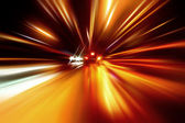 Night zoom acceleration motion — Stock Photo