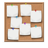 Cork notice board with blank sticker notes — Stock Photo