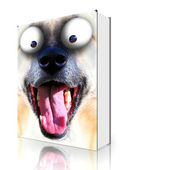 Book dog smile — Stock Photo