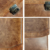Set grunge leather texture briefcase — Stock Photo