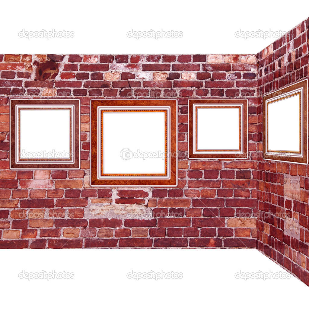 Art gallery. Frames old leather on a brickwall. — Stock Photo #5478258
