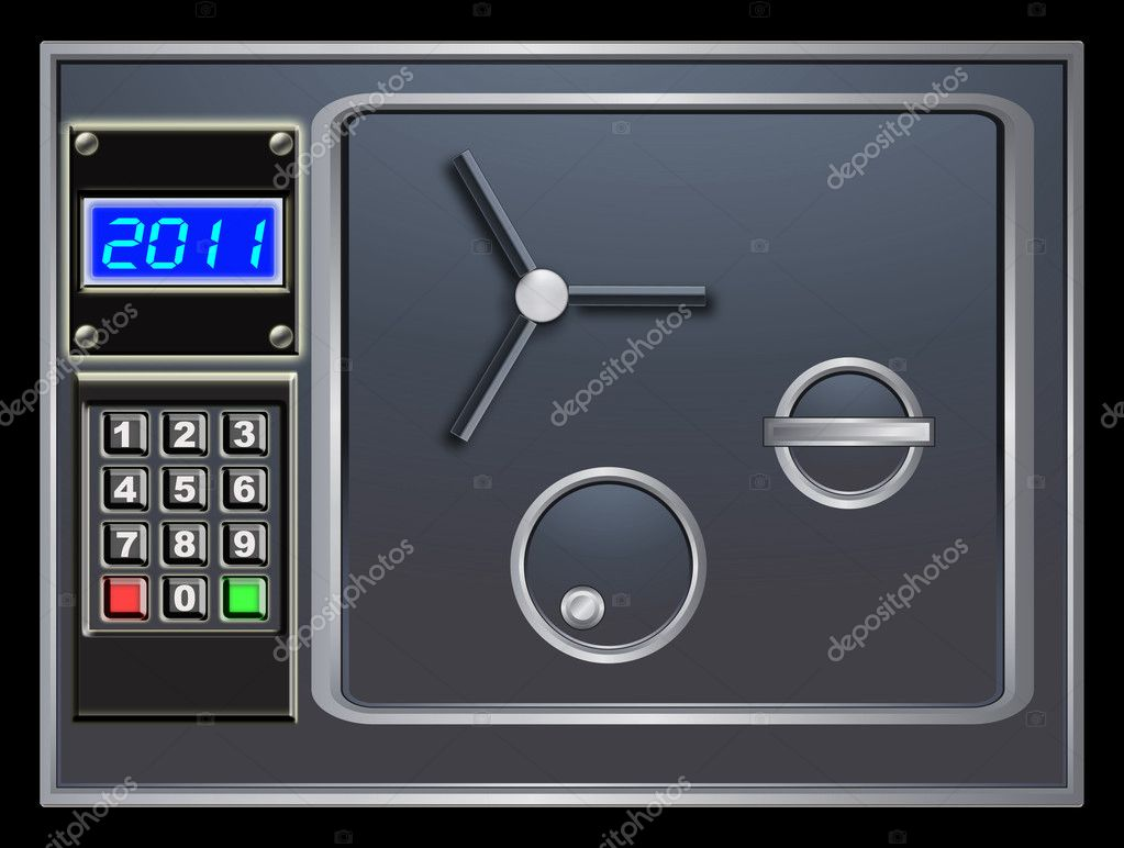 Steel safe and new year digital counter — Stock Photo #5478413