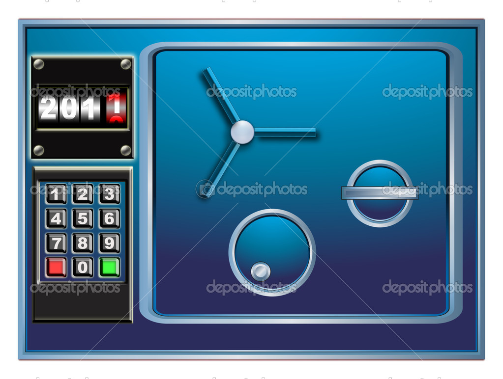 Steel safe and new year digital counter — Stock Photo #5478414