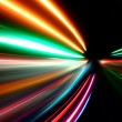 Abstract acceleration speed motion on night road — Stock Photo