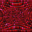 Stock Photo: Abstract red distortion background of convex gradient squares