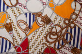 Silk scarf sea motifs — Stock Photo