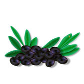 Few olives with leaves — Stock Vector