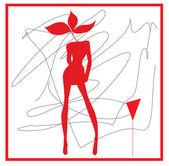 Abstrakcja kobieta w odcieniach czerwieni i kieliszek do wina — Wektor stockowy