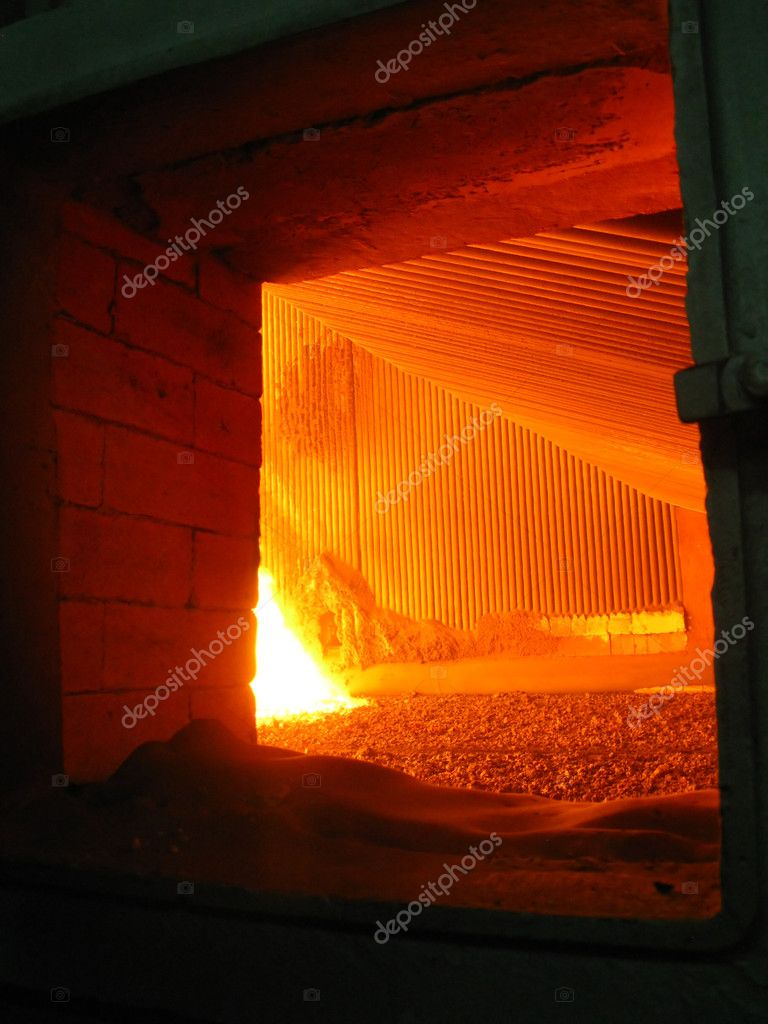 View of fire in the coal-grate boiler — Stock Photo #5440730