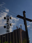 Aerials, in the post office and a roadside cross — Stock Photo