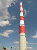 White and red high chimney — Stock Photo
