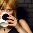 drinking coffee — Stock Photo