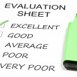 Evaluation sheet — Stock Photo