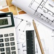 Stock Photo: House plans and tools