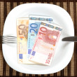 Serving euro banknotes — Stock Photo