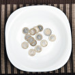 Coins on food plate — Stock Photo