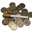 Cigarette on money — Stock Photo #6238926