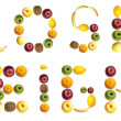 Lose weight word made of fruits — Stockfoto