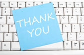 Thank you note on keyboard — Stock Photo