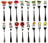 Collage of vegetables in forks — Stock Photo