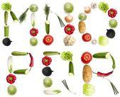 Brieven gemaakt van groenten — Stockfoto