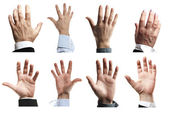 Suit hands asking for help — Stock Photo