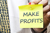 Make profits post it — 图库照片