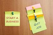 Start a business post it — Stock Photo