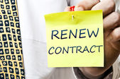 Renew contract post it — Stock Photo
