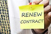 Renew contract post it — Stock Photo