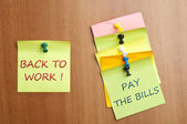 Back to work post it — Stock Photo