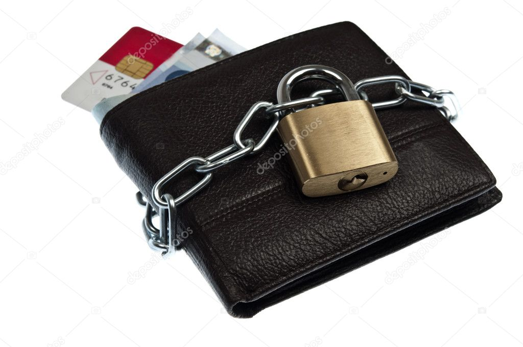 Leather wallet locked with chain — Stock Photo #6238853