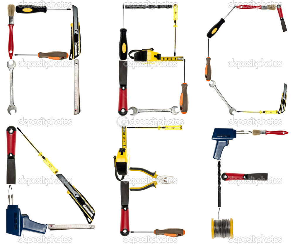 Letters made of hand tools stock photo fuzzbones 6239199 for Gardening tools 6 letters