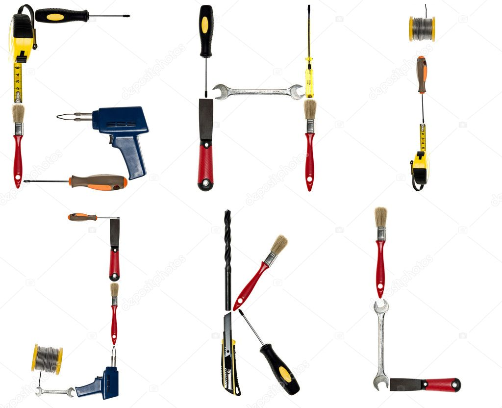 Letters made of hand tools stock photo fuzzbones 6239215 for Gardening tools 6 letters