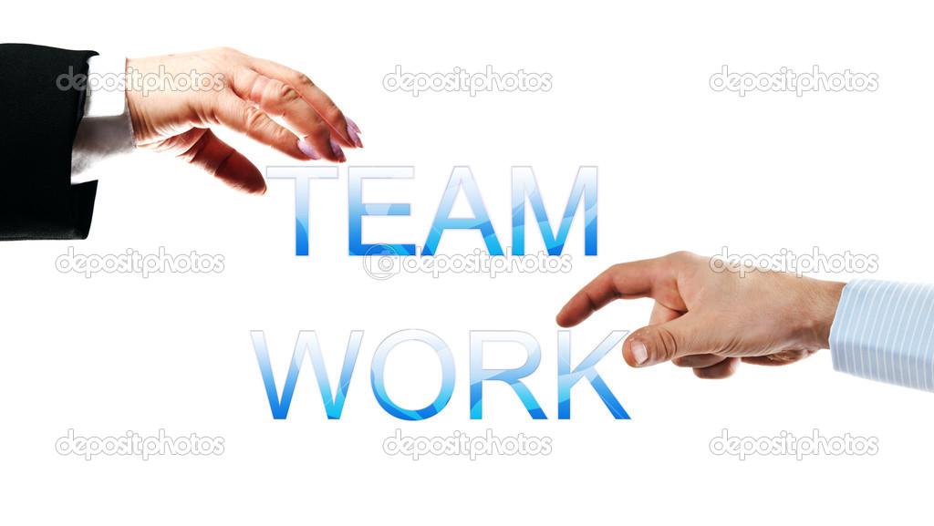 Team work words made by business woman and man hands — Stock Photo #6239666