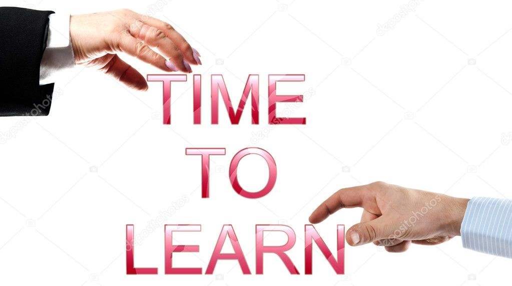Time to learn words made by business woman and man hands — Stock Photo #6239696