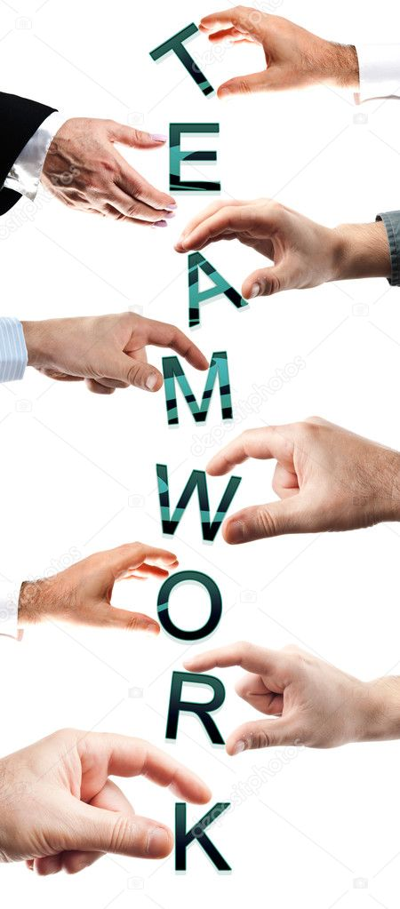 Teamwork word made by many business hands — Stock Photo #6239700