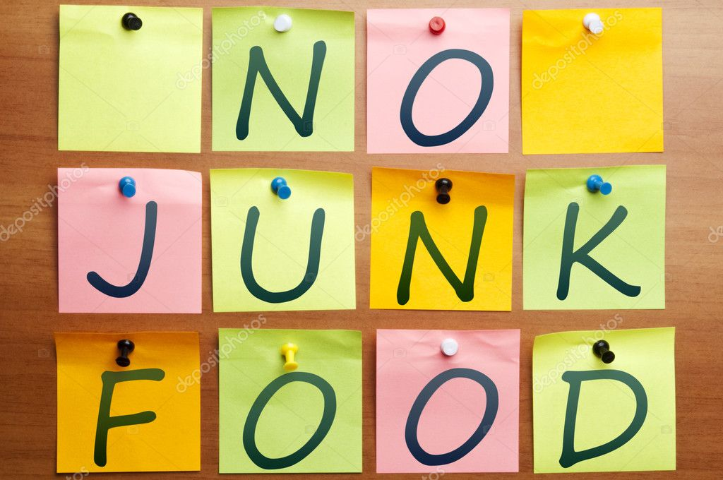 No junk food words made by post it — Stock Photo #6239911