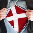 Denmark flag on shirt — Stock Photo