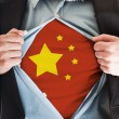 China flag on shirt — Stock Photo
