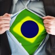 Stock Photo: Brasil flag on shirt