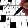 Crossword money and work — ストック写真