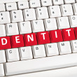 Identity word on keyboard — Stock Photo