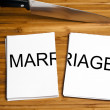 Knife cut paper with marriage — Stock Photo #6240516