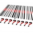 Question sign on barcode — Stock Photo
